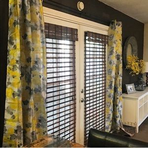 Other - 4 panels Yellow and Grey Floral Curtains